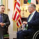 Taoiseach Leo Varadkar meets Texas Governor Greg Abbott at the Governors Mansion in Austin at the beginning of his week-long visit to the US (Niall Carson/PA)