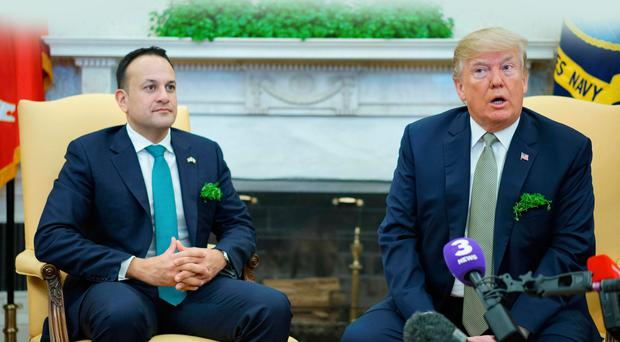 US President Donald Trump (R) speaks during a meeting with Ireland's Prime Minister Leo Varadkar (L) in the Oval Office of the White House on March 15, 2018 in Washington, DC / AFP PHOTO / MANDEL NGANMANDEL NGAN/AFP/Getty Images