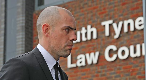 Darron Gibson arrives at South Tyneside Magistrates' Court (Owen Humphreys/PA)