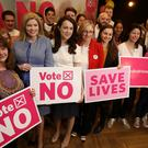 Campaigners and supporters at the launch of the LoveBoth 'Vote No' campaign at The Alex Hotel, Dublin (Brian Lawless/PA)