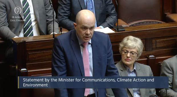 Denis Naughten making his statement to the Dail (Oireachtas TV)