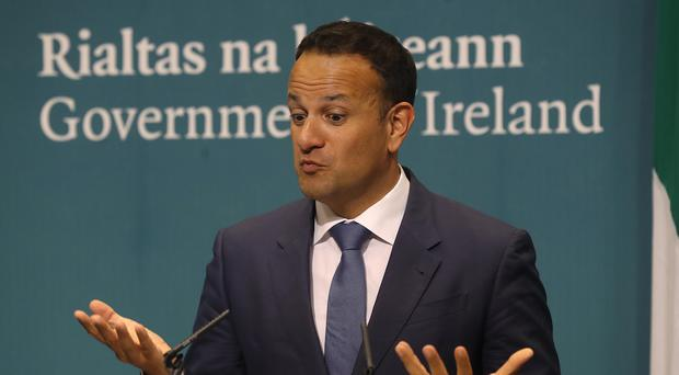 Taoiseach Leo Varadkar during a press conference at government buildings (Lorraine O'Sullivan/PA)