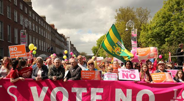 Pro-life demonstrators calling for the retention of the Eighth Amendment of the Irish Constitution (Niall Carson/PA)