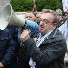 Micheal Mac Donncha speaks at a rally