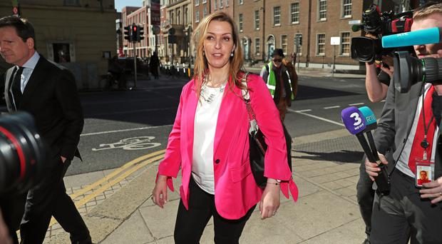 Vicky Phelan arrives to give evidence to the Public Accounts Committee (Brian Lawless/PA)