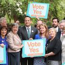 Leo Varadkar with Fine Gael colleagues ahead of the referendum on the 8th Amendment of the Irish Constitution. (Niall Carson/PA)