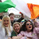 Yes campaigners celebrate in Dublin Castle (Niall Carson/PA)