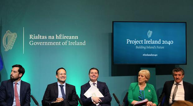 An Taoiseach Leo Varadkar (second left) with (from left) Minister for Housing Eoghan Murphy, Minister for Finance Paschal Donohoe, Minister for Business, Enterprise and Innovation Heather Humphreys and Minister of State John Halligan at the launch of the Project Ireland 2040 funds (Brian Lawless/PA)