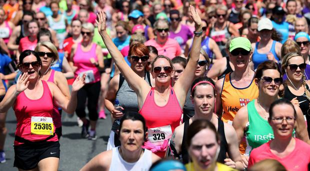 Participants make their way down Fitzwilliam Place at the start of the race (Brian Lawless/PA)