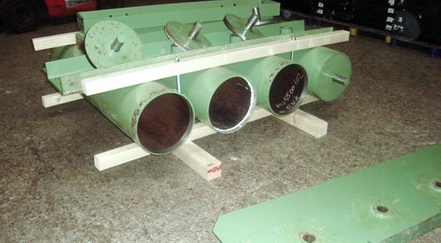 Hollow industrial metal rollers were used to smuggle contraband (National Crime Agency/PA)