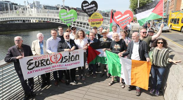 Celebrities and public figures launch the Irish campaign to boycott Eurovision 2019 (Niall Carson/PA)