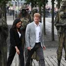 The Duke and Duchess of Sussex at the Famine Memorial (Brian Lawless/PA)