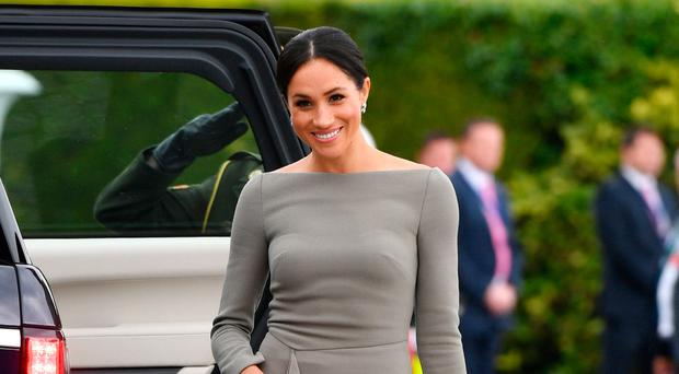 The Duchess in her stone-coloured dress