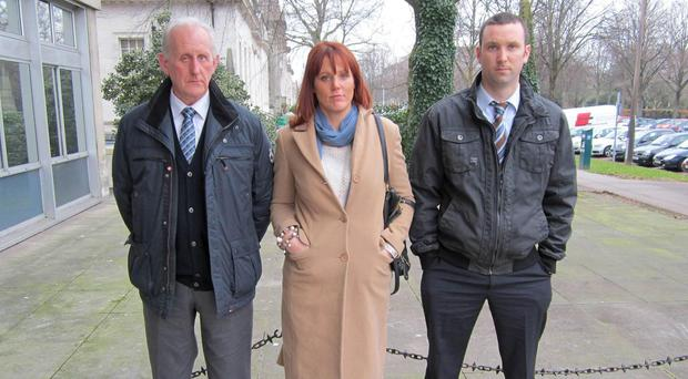 The family of Ranger Michael Maguire, (left to right) father Michael Maguire Snr, sister Sheila Maguire and brother Jimmy Maguire (Anthony Stone/PA)