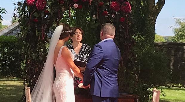The wedding of Zoe Holohan and Brian O'Callaghan-Westropp, wh have been caught up in the wildfires in Greece (Handout/PA)