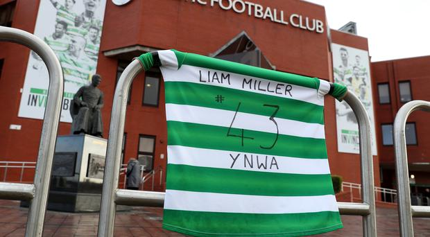 Liam Miller tributes outside Celtic Park as Ireland's Gaelic Athletic Association has agreed to allow a tribute match to be played at its Cork ground (Andrew Milligan/PA)