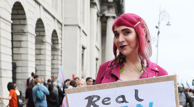 Sonia Kolasinska took part in a Trans Pride March in Dublin's city centre. (Brian Lawless/PA)