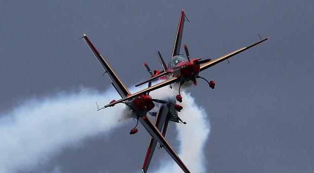 The Royal Jordanian Falcons perform during the annual Bray air display in Co. Wicklow (Brian Lawless/PA)