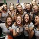 The Irish women's hockey team arrived home to a hero's welcome at Dublin Airport