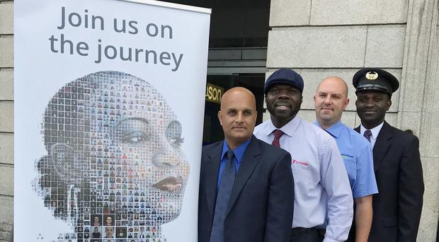 (Left to right) Shahbaz Rana of Dublin Bus, Sammy Akorede of Luas, Martin Acheampong of Luas and Richard Adewuyi of Bus Eireann at the launch of an anti-racist campaign (Cate McCurry/PA)