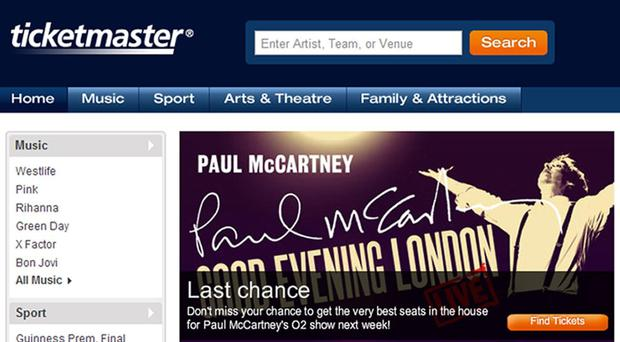 Screengrab from the Ticketmaster website (PA)