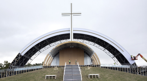 Work takes place on the construction of the altar at Phoenix Park
