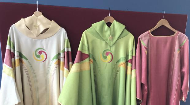 New vestments created for the papal visit to Dublin (Cate McCurry/PA)