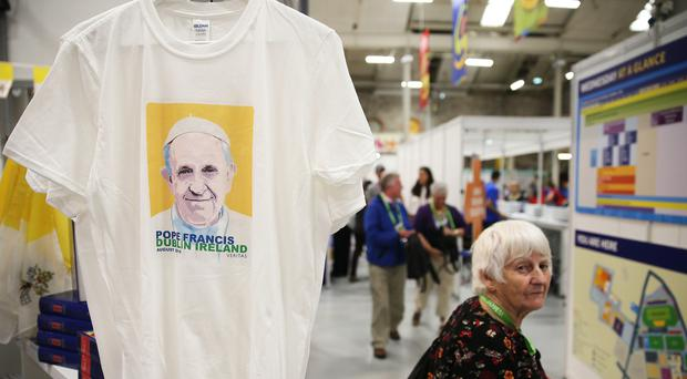 Merchandise on sale during the World Meeting of Families in Dublin (Brian Lawless/PA)