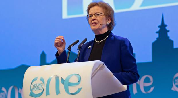 Mary Robinson addressing the One Young World summit in The Hague (One Young World/PA)