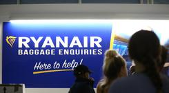 Ryanair said average fares declined 3% due to excess capacity in Europe (Yui Mok/PA)