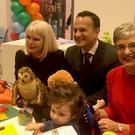 Taoiseach Leo Varadkar (centre), Minister for Children Katherine Zappone (right) and junior minister for higher education Mary Mitchell O'Connor play with children at the launch of the First 5 government initiative (Aoife Moore/PA)