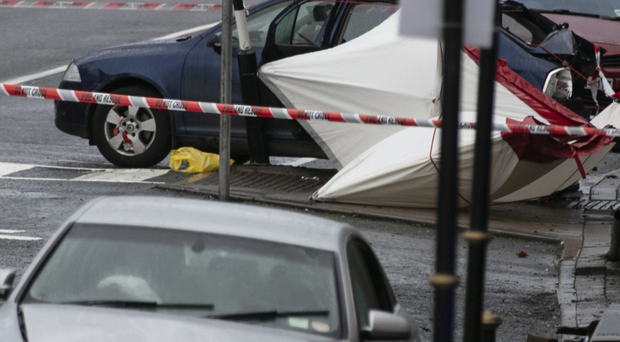 The scene of the fatal accident in Castleblayney, Co Monaghan, where one man has been killed and a garda injured