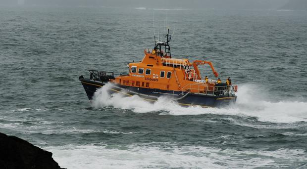 The RNLI lifeboat spent almost 12 hours at sea rescuing three fishermen on Monday (RNLI)