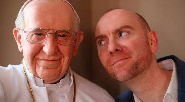 Ed Coleman, general manager of the National Wax Museum in Dublin, with waxwork of Pope Francis