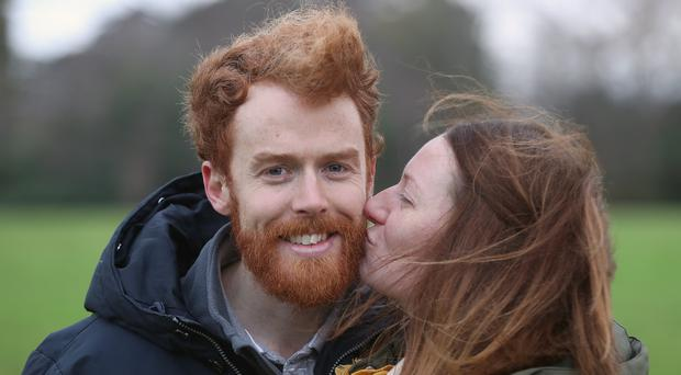 Chris And Niamh Behan Take Part In The Annual Kiss A Ginger Day At Phoenix Park