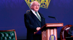 Current President Michael D Higgins at a Dail event to commemorate the centenary of the first Dail at the Mansion House in Dublin