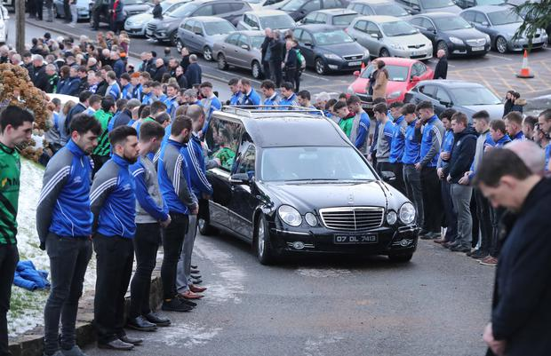 The funeral cortege of Shaun Harkin makes its way to Christ the King Church in Gortahork (Niall Carson/PA)