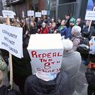 Local residents demonstrate at the site of a proposed new high rise hotel on Vicar Street in Dublin.