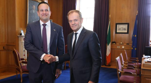 Taoiseach Leo Varadkar greets European Council president Donald Tusk at Government Buildings in Dublin (Niall Carson/PA)