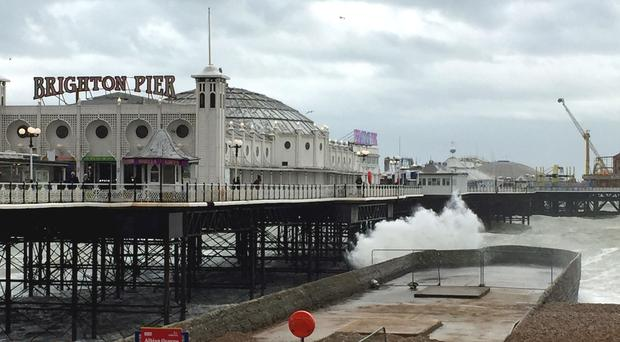 Brighton seafront suffered battering winds (Flora Thompson/PA)
