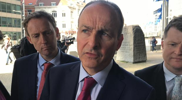 Fianna Fail leader Micheal Martin discussing Brexit in Brussels on Thursday (Michelle Devane/PA)