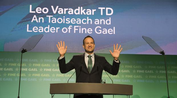 Leo Varadkar during his speech at the Fine Gael National Conference in Wexford (Patrick Browne/Fine Gael/PA)