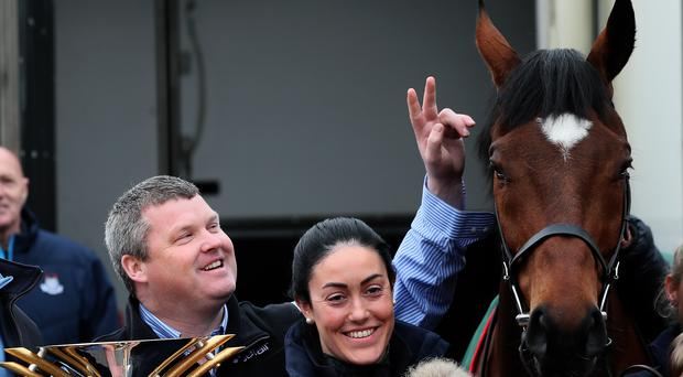 2019 Grand National Winner Tiger Roll with trainer Gordon Elliott during the parade through Summerhill, County Meath, Ireland (Brian Lawless/PA)