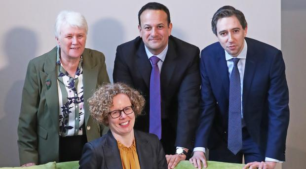 Minister of State for Health Promotion Catherine Byrne, head of health and wellbeing at the Department of Health Kate O'Flaherty, Taoiseach Leo Varadkar and Minister for Health Simon Harris at the launch of the Healthy Ireland Campaign 2019 (Niall Carson/PA)