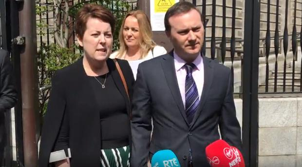 Terminally ill mother Ruth Morrissey and husband Paul speaking outside Dublin's High Court (Michelle Devane/PA)