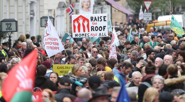 Crowds outside Leinster House in Dublin (Niall Carson/PA)