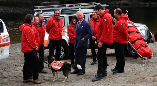 Charles meets the Wicklow Mountain Rescue Team during a visit to Upper Lake in Glendalough