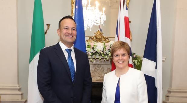 Scottish First Minister Nicola Sturgeon meets Taoiseach Leo Varadkar at Farmleigh House during her visit to Dublin (Niall Carson/PA)
