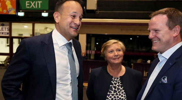 Taoiseach Leo Varadkar (left) with Fine Gael candidate Frances Fitzgerald and Fine Gael's Alan Farrell (Brian Lawless/PA)