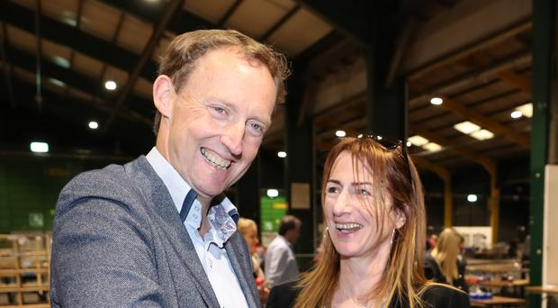 Independents 4 change candidate Clare Daly and Barry Andrews of Fianna Fail are deemed elected to Dublin Constituency of the European Elections at the RDS.